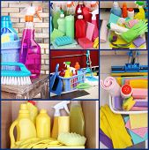 Clean concept. Cleaning supplies and tools collage