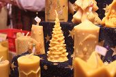 Natural Wax Handmade Christmas Candles On Advent Market Stall