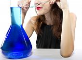 foto of inhalant  - woman inhaling flavored oxygen with cannula and scented water - JPG