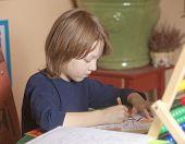 Boy Working On His Homework