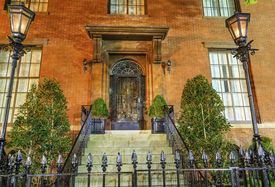 stock photo of victorian houses  - Montomery Blair Lee House Building Second White House part of the Blair House Comples Night Washington DC - JPG
