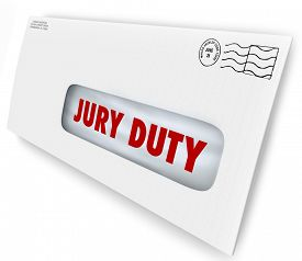 foto of jury  - Jury Duty words on a letter in an envelope summoning you to appear in court to serve in judgment and render a legal judgment in a lawsuit or case - JPG