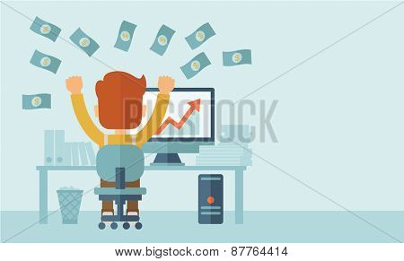 Successful young businessman happy falling the money while sitting infront of his computer with the