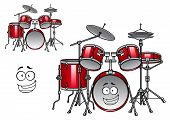 stock photo of drum-set  - Cartoon red drum set character with shiny cymbals and happy smiling face suitable for musical design - JPG