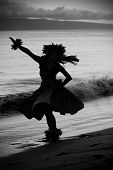 stock photo of hula dancer  - Hawaiian hula on the beach at sunset in Maui - JPG