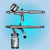 foto of airbrush  - two different airbrush to artistic activity - JPG