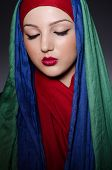 pic of burka  - Portrait of the young woman with headscarf - JPG