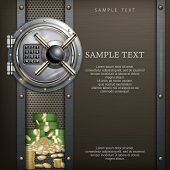 stock photo of bank vault  - Bank round vault on metallic with money security concept vector illustration - JPG