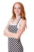 stock photo of pinafore  - Female chef isolated on white - JPG