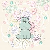 image of hippopotamus  - Stylish floral background with cartoon hippopotamus  in light colors - JPG