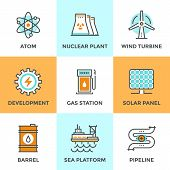 stock photo of turbines  - Line icons set with flat design elements of global energy development nuclear power plant wind turbine oil barrel solar panel pipeline transport - JPG