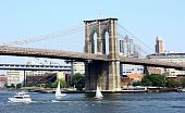 picture of u-boat  - View of Brooklyn bridge over East river - JPG