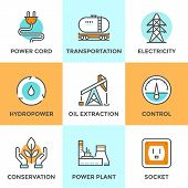 foto of hydro  - Line icons set with flat design elements of power plant hydropower energy oil extraction and transportation electricity tower ecology conservation - JPG