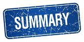 picture of summary  - summary blue square grunge textured isolated stamp - JPG
