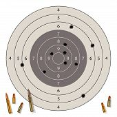 stock photo of gunshot  - Target with bullet holes and bullets isolated on white - JPG