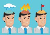 image of anger  - Vector cartoon illustration showing the brain of modern man in different emotional state namely sadness anger and happy - JPG
