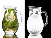picture of pitcher  - Alcoholic cocktail with mint and lemon slice in a pitcher - JPG