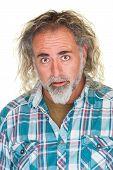 pic of long beard  - Amazed single mature man with beard and long hair - JPG