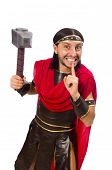 image of shhh  - Gladiator with hammer isolated on white - JPG