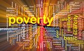 foto of poverty  - Background text pattern concept wordcloud illustration of poverty glowing light - JPG
