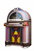 foto of jukebox  - colourful vintage wooden jukebox isolated on white - JPG