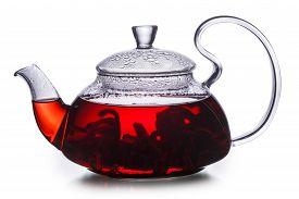 image of sorrel  - Hibiscus tea in transparent teapot - JPG