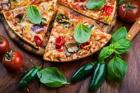 picture of jalapeno  - Tradition spanish pizza with chili and jalapenos - JPG