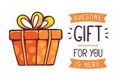 ������, ������: Vector Illustration Of Great Red Gift Box With Title Awesome Gift For You Is Here On White Backgroun