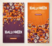 ������, ������: Halloween Banners Set Vector Illustration Flat Halloween Icons