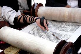 image of torah  - Reading the Torah scroll macro - JPG