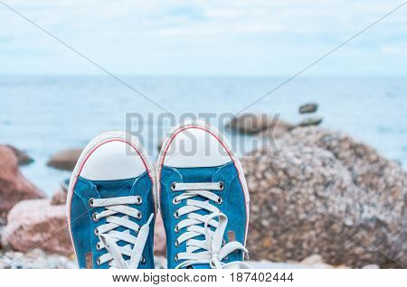 Stylish Blue Sneakers On A
