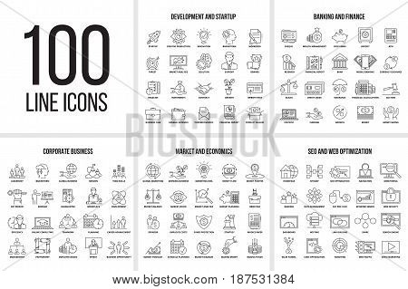 poster of Vector set of thin line icons of corporate management, business, market, economics, banking, finance, seo, web optimization and startup. Mono line pictograms and infographics design elements.