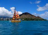 Boat is sailing in beautiful Hawaii