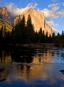 Reflection of El Capitan in Yosemite National Park California at sunset