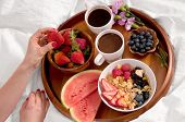 Healthy Breakfast And Coffee In The Bed. poster