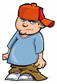 Cartoon Of Boy With Baggy Pants And Baseball Cap