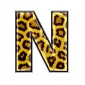 image of alphabet letters  - 3d letter with panther skin texture  - JPG