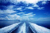 Boat wake in the sea, on a brilliant sunny day.