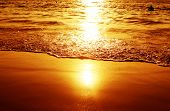 stock photo of sunset beach  - Golden sunset on the beach - JPG