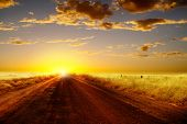 Country road and  sunset.