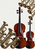 stock photo of musical instruments  - Musical instruments happen string and wind tubaviolin - JPG