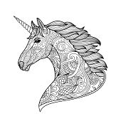 Drawing Unicorn Zentangle Style For Coloring Book, Tattoo, Shirt Design, Logo, Sign. Stylized Illust poster