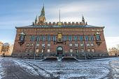 facade of the copenhagen city hall in denmark poster