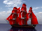 ship in the sea with red sails in profile
