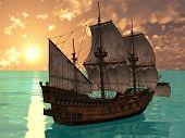ship ij sea in sunset lights