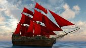 ship in the sea with red sails
