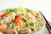 foto of wanton  - a bowl of hot wanton noodle soup - JPG