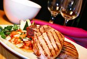 foto of pork chop  - grilled pork chops with sweet and spicy salsa - JPG