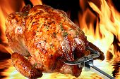image of delicious roasted chicken on flame background