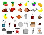 vector illustration of colorful food and kitchen icons